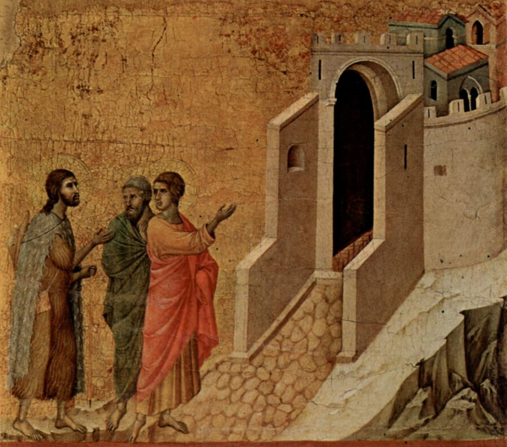 Road to Emmaus painting by Duccio di Buoninsegna.