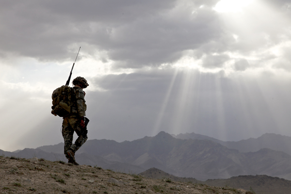 soldier silhouette in the mountains